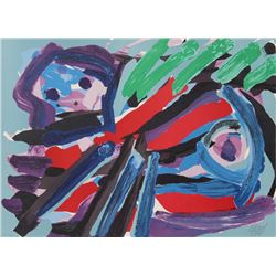Karel Appel, Walking with my Bird, Lithograph