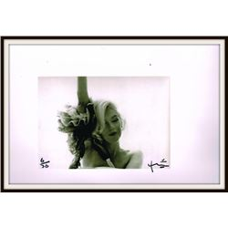 MARILYN MONROE WITH ARM UP. BERT STERN SIGNED AND STAMPED.