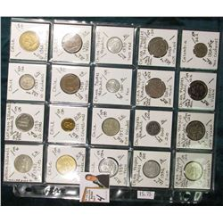 (20) Different World Coins in a plastic page. All Different and attributed. Includes Cayman Islands,