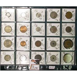 (20) Different World Coins in a plastic page. All Different and attributed. Includes Colombia, Costa