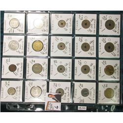 (20) Different World Coins in a plastic page. All Different and attributed. Includes Ecuador, El Sal