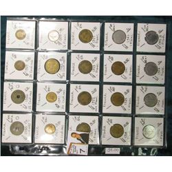 (20) Different World Coins in a plastic page. All Different and attributed. All French. KM Value $34