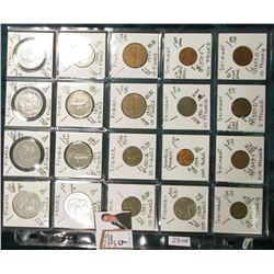(20) Different World Coins in a plastic page. All Different and attributed. Includes France, Gambia,