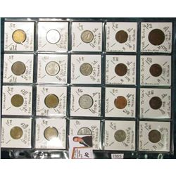 (20) Different World Coins in a plastic page. All Different and attributed. Includes Germany, Ghana,