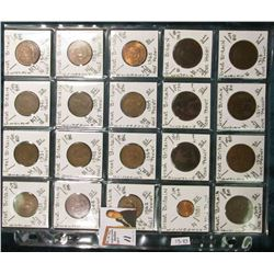 (20) Different World Coins in a plastic page. All Different and attributed. All Great Britain. KM Va