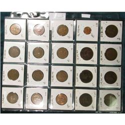 (20) Different World Coins in a plastic page. All Different and attributed. All Great Britain.  KM V