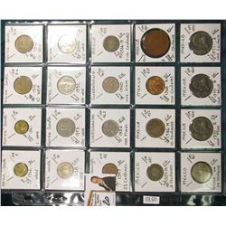 (20) Different World Coins in a plastic page. All Different and attributed. Includes South Korea, Lu