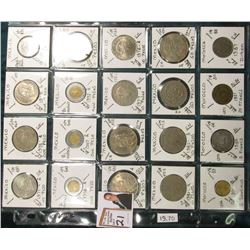 (20) Different World Coins in a plastic page. All Different and attributed. Includes Mexico & Morocc