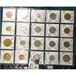(20) Different World Coins in a plastic page. All Different and attributed. Includes Kenya, South Ko