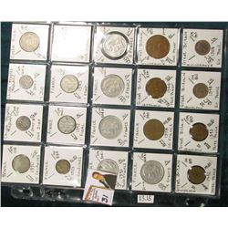 (20) Different World Coins in a plastic page. All Different and attributed. Includes Brazil, China,