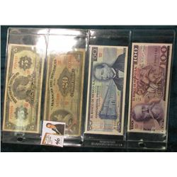 (4) Mexico Bank Notes including 1963 Five Peso, 1961 Twenty Peso, 1979 50 Peso, & 1982 100 Peso. VG-
