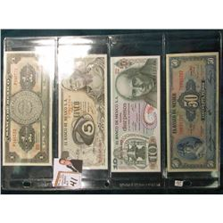 (4) Mexico Bank Notes including 1967 One Peso, CU, 1969 Five Peso,  EF, 1975 10 Peso, CU, & 1961 50