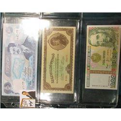 1994 Saddam Hussein Iraq Bank note; 1946 Hungary 100 Pengo, CU; & 1988 Peru 1000 Intis, CU.