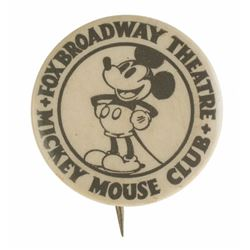 Rare Fox Broadway Theatre Mickey Mouse Club Member's Button.
