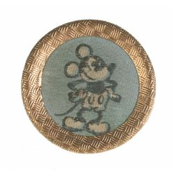 Brass Rimmed Mickey Mouse Button.
