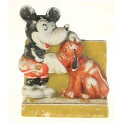 Mickey and Pluto Bisque Toothbrush Holder.