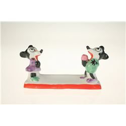 Mickey and Minnie Bisque Napkin Holder Set of (12) in Box.