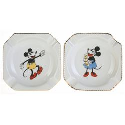 Collection of (2) Mickey Mouse And Minnie Mouse Bavarian China Ashtrays.