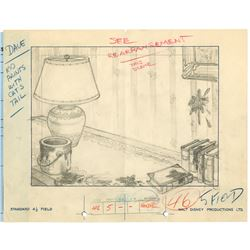 "Original Layout Drawing from ""Mickey's Nightmare""."