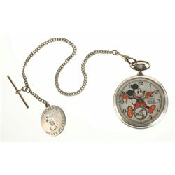 Ingersoll Mickey Mouse English Pocket Watch with fob and box.