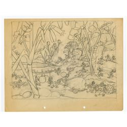 "Original Layout Drawing from ""The Grasshopper and the Ants""."