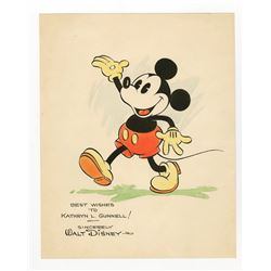 Rare Original Hand-Painted Mickey Mouse Studio Fan Card.