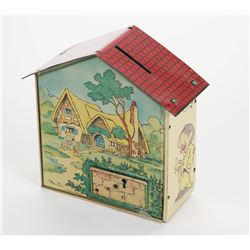 """Snow White and the Seven Dwarfs"" French Tin Coin Bank."