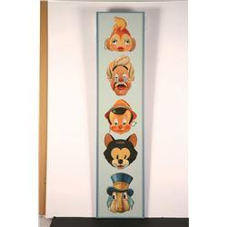 """Framed set of (5) """"Pinocchio"""" Paper Masks."""