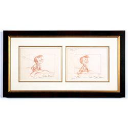 "Pair of Signed Original Layout Drawings from ""Pinocchio""."