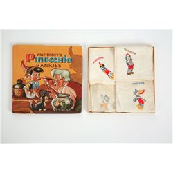 "Walt Disney's ""Pinocchio"" Hankies Set In Original Box."