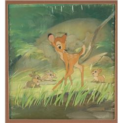 "Original Production Cel and Production Background from ""Bambi""."