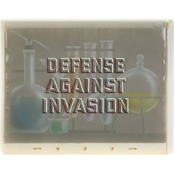 Walt Disney Signed  Defense Against Invasion  Title Card.