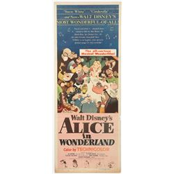 """Alice in Wonderland""  Original Release Insert Movie Poster."