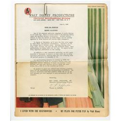 """Pre-Opening Merchandising Letter for """"Peter Pan""""."""