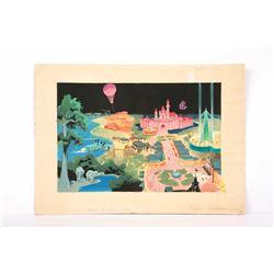 Samuel Armstrong Signed Original Book Art Painting of Disneyland.