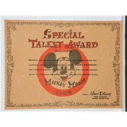 Unused Mickey Mouse Club Special Talent Award.