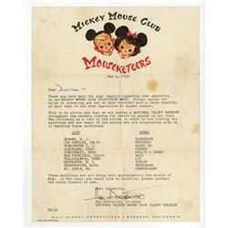 National Mickey Mouse Club Talent Roundup Letter from Hal Adelquist.