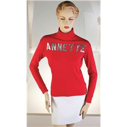 Annette Funicello's Performance Worn Red Turtleneck Shirt.