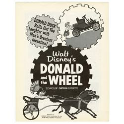 "Promotional Fold-Out for ""Donald and the Wheel""."