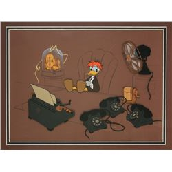 "Original Production Cel and Background from ""Donald and the Wheel""."