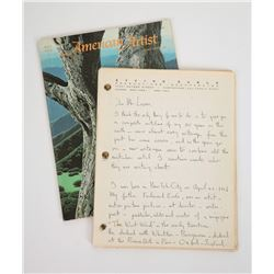 Original Eyvind Earle Hand-Written and Signed Manuscript.