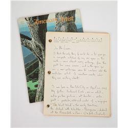 Original Eyvind Earle Hand-Written and Signed Manuscript.