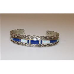 Native American Navajo Old Pawn Sterling Silver 925 Opal Lapis Inlay Hand Etched Design Cuff Bracele
