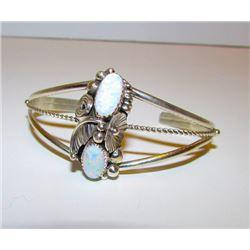 Vintage Native American Navajo Sterling Silver 925 Opal Cuff Bracelet Squash Blossom Design