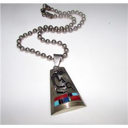 Native American Navajo ANTHONY SKEETS Sterling Silver Turquoise Opal Coral Jet Inlay Kokopelli Neckl