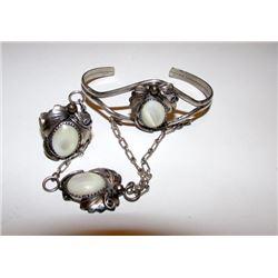 Native American Navajo Old Pawn Sterling Silver Mother of Pearl MOP Bracelet Ring Slave Bracelet Squ