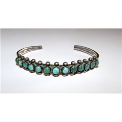 """Old Pawn Native American Zuni Sterling Silver Cerillos Mine Turquoise Cuff Bracelet """"Snake Eyes"""" Des"""