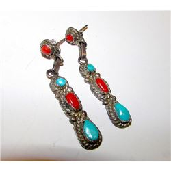 Native American Navajo Old Pawn Sterling Silver Sleeping Beauty Turquoise and Mediterranean Coral Pi