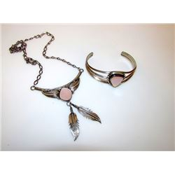 Native America Navajo Sterling Silver Pink Mother of Pearl Necklace and Cuff Bracelet Set