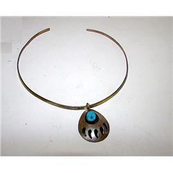 Vintage Native American Navajo Sterling Silver Turquoise Bear Paw Collar Necklace